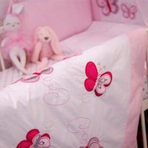Baby Bettwäsche Schmetterlinge Rosa 100x135