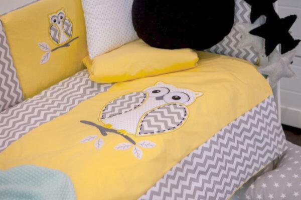 Baby Bettwäsche 100x135 Gelb Kluge Eule Applikation 100% Baumwolle von Belisima