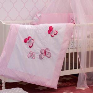 Baby Bettset Bettwäsche Schmetterlinge Rosa für Mädchen 100x135