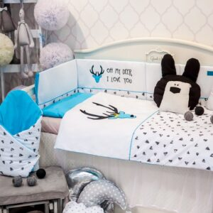 Baby Bettwäsche 100x135 Gelb Eule Strickerei 100% Baumwolle für Mädchen und Jungen