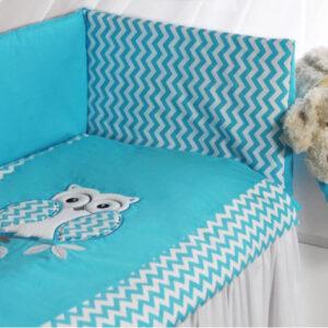 Babybettwäsche 100x135 aus Baumwolle Eule Türkisblau für Jungen