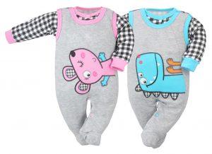 Koala Strampler Maus und Dino 74cm Farbe Rosa und Türkis Baumwolle für Mädchen und Buben