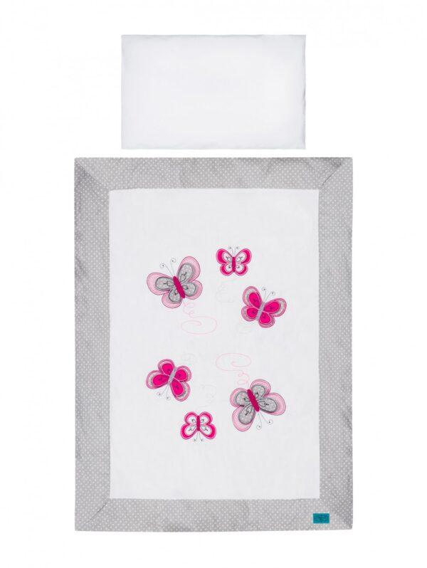 Baby Bettwäsche 100x135 oder 90x120 aus Baumwolle Schmetterlinge Applikationen Grau Rosa
