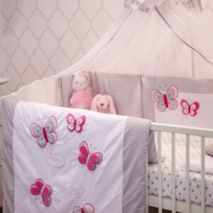 Babybett Set Schetterlinge mit Decke und Kissen Gitterbettschutz Babybettwäsche Füllung und SteckkissenFüllung