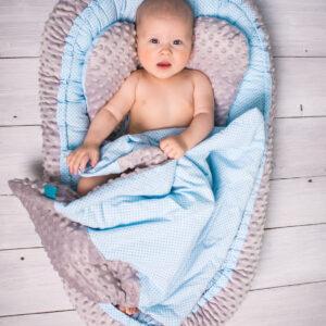 Babynest für Buben Blau Minky Grau mit Decke und Kissen von Belisima Baby online in Österreich kaufen