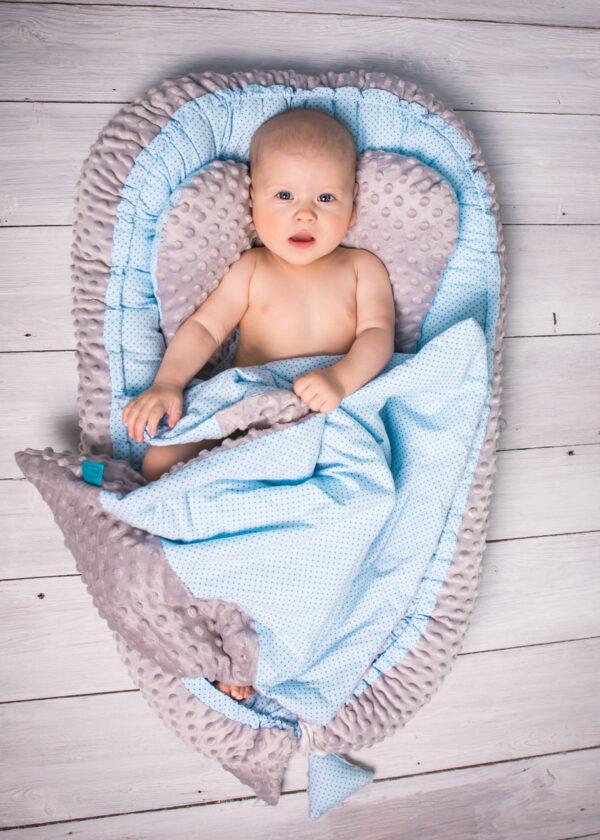 Baby Nestchen für Buben Blau Minky Grau mit Decke und Kissen von Belisima Baby online in Österreich kaufen