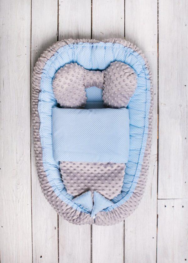 Babynest für Buben Blau Minky Grau online in Österreich kaufen Marke Belisima Baby