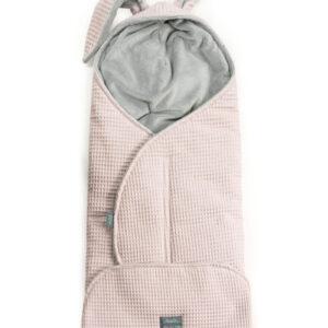 Wickelschlafsack Rosa mit grau Waffelstoff geeignet für Autositz