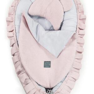 Babynest Rosa mit Kissen und Decke Waffelstoff