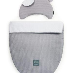 Kissen und Decke für Kinderwagen und Babybett sowie Babynest Farbe Grau
