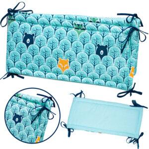 Gitterbettschutz 180x30 Farbe Grün und Türkis Baumwolle