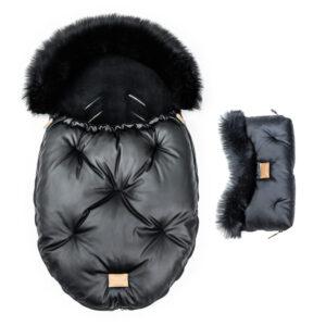 Fußsack und handwärmer aus schwarzem Leder mit schwarzem Fell Babyset Alaska