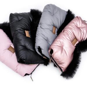 Kinderwagen Muff Handwärmer in Farben Grau Rosa und Schwarz mit schwarzem Fell online kaufen