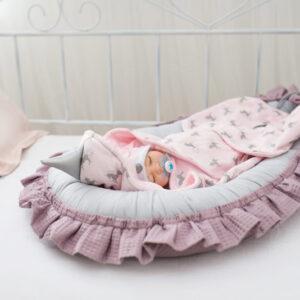 Baby Nestchen Waffel dunkelrosa aus Baumwolle Waffelstoff von Floo online günstig in Österreich kaufen