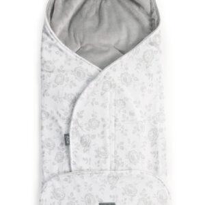 Baby Wickelschlafsack für Kinderwagen und Autositz mit Ohren Frabe Grau Blumen Weißer Hintergrund