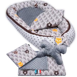 Babynest premium 5 teilig mit Decke und Polstern Farbe grau-braun von Palulli auch im Baby Set zu kaufen
