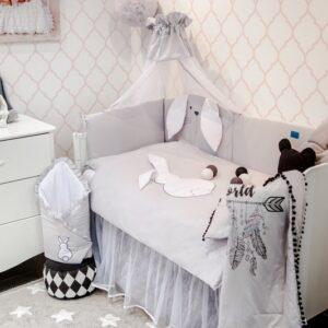 Baby Bettwäsche Set Grau Hase Weiß 100x135 oder 90x120 aus Baumwolle mit Bettumrandung online kaufen Österreich