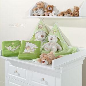 Warme Babydecke 80x95 aus Fleece Farbe Grün mit Bären Strickereien online günstig kaufen EU Produkt