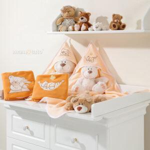 Warme Fleece Babydecke Kuscheldecke 85x90 Farbe Orange mit Strickereien Bären online bestellen