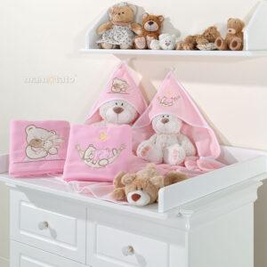 Warme Babydecke aus Fleece 80x95 mit Strickerei Bären Farbe Rosa für Mädchen online kaufen