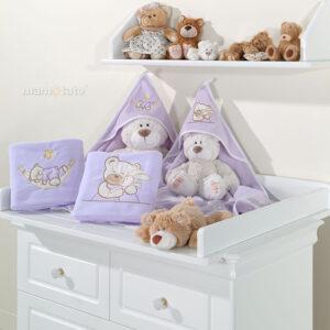 Warme Baby Decke 80x95, Kuscheldecke aus Fleece mit Strickerei Bären Farbe Violett online kaufen