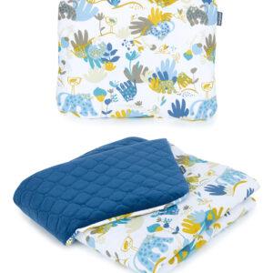 Babydecke und Kissen als Kinderwagen Babyset Velvet Blau Savanne Muster 100x75