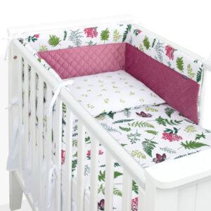 Baby Bettwäsche für Mädchen 90x120 bzw. 100x135cm aus Velvet und Baumwolle 3-teilig Kissen und Decke und Bettumrandung