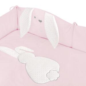 Baby Set Bettwäsche Bettumradnung Bettinlet Steckkissen Hase Rosa für Mädchen