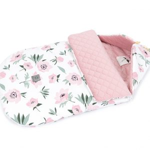 Kinderwagen Schlafsack Velvet Rosa Blumen auf Ecru Österreich