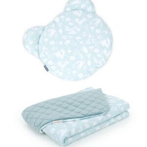 Kinderwagen Set Decke 100x75 und Teddy Kissen aus Velvet Khaki und Baumwolle Pistazienfarbe