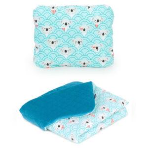 Babydecke und Kissen für den Kinderwagen aus Samt und Baumwolle Farbe Türkis mit Koala Muster