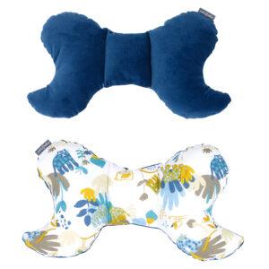 Baby Schmetterling Kissen aus Velvet in Farbe Blau für Babynest Auto Kinderwagen Sitzauflage
