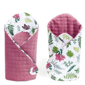Babyhörnchen Steckkissen Velvet Rosa Farne Muster beidseitig elegant