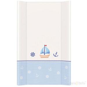 Wickelauflage 50x70 Frabe blau-weiß mit einem Schiff harte Auflage Folie PVC abwaschbar online kaufen Österreich