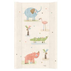 Harte Wickelauflage 50x80 Tiere im Zoo Farbe Ecru PVC Folie waschbar online kaufen Österreich Jungen und Mädchen