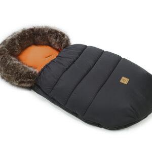Winter Fellsack Fußsack für Kinderwagen oder Buggy Farbe Schwarz mit Fellrand Innenseite Orange