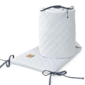 Baby Gitterbett Nestchen ghellgrau Velvet gesteppt Bettumrandung 180x30