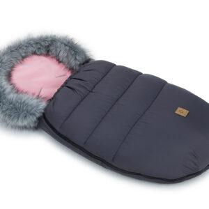 Winter Schlafsack Fellsack für Kinderwagen und Buggy Graphit mit Rosa Fell Rand