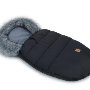 Kinderwagen Winter Schlafsack 100x50 Farbe schwarz mit grauen Fleece und Fellrand