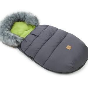 Winter Fußsack Schlafsack mit Fell Rand Farbe grau 50x100cm für Kinderwagen und Buggy