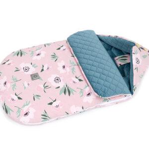 Herbst Frühling Kinderwagen Schlafsack oder Fußsack Rosa mit Blumenmuster Velvet Nepalblau für Mädchen in Österreich bestellen