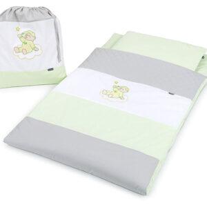 Baumwolle Schlafsack für Kindergarten für Kinder bis 130cm Farbe Grüne und Grau Teddybear Strickerei online kaufen Österreich