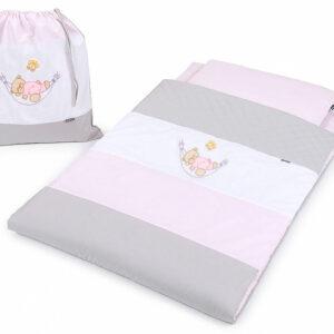 Kindergarten Schlafsack mit Sack Farbe Rosa und Grau mir Teddybear online kaufen Österreich und Deutschland