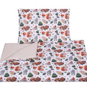Baby Bettwäsche Waldtiere 90x120 oder 100x135 aus Baumwolle für Mädchen und Buben mit Bettumrandung online günstig kaufen