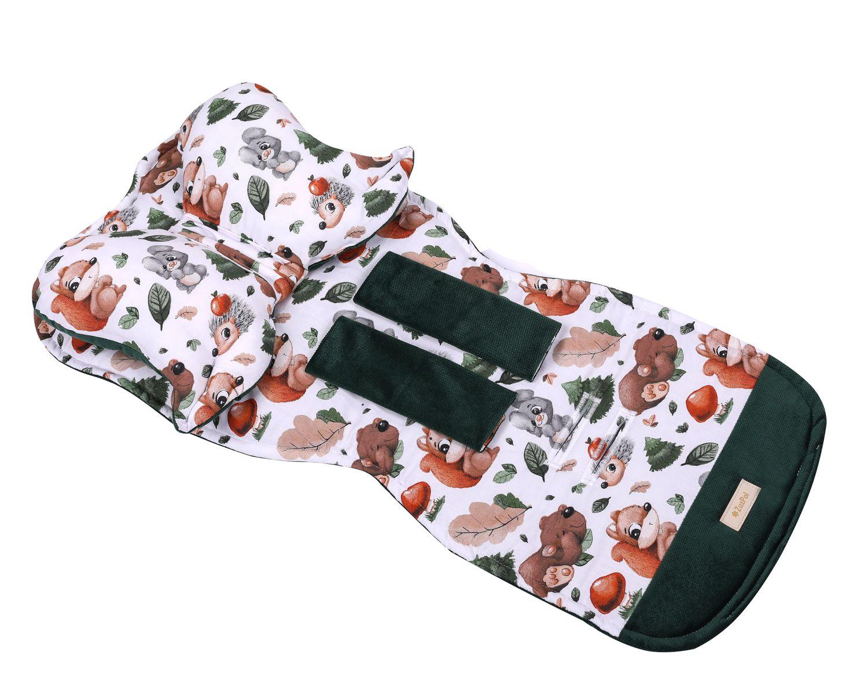 Kinderwagen Sitzauflage mit Schmetterling Kissen und Gurtschutz Farbe Grün aus Samt und Waldtiere Muster online kaufen Österreich