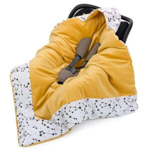 Einschlagdecke für Babyschale oder Autositz mit Kapuze aus Samt und Baumwolle Farbe gelb