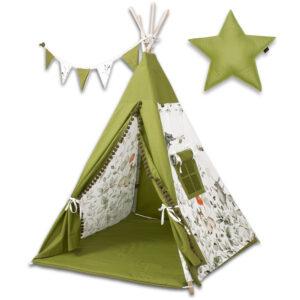 Kinderzimmer Zelt Tipi Grün mit Kissen Matte und Fenster online bestellen Deutschland und Österreich
