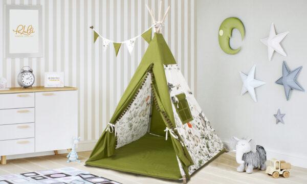 Tipi Zelt für Kinderzimmer Farbe Grün mit Kissen Spielmatte und Girlande Rentier Motiv