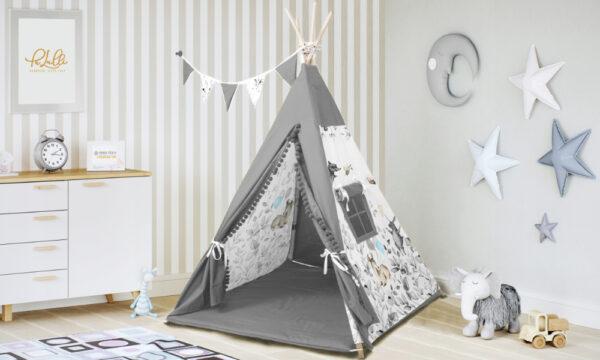 Indianer Tipi Zelt für Kinderzimmer Rentier Grau mit Spielmatte Kissen und Girlande für Mädchen und Buben online kaufen Deutschland und Österreich