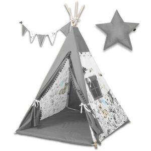 Tipi Zelt für Kinderzimmer Grau Rentier mit Kissen und Girlande online bestellen